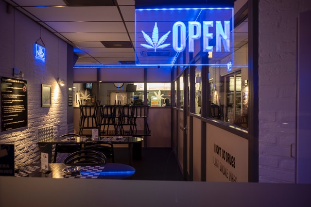 recreational dispensary looking inside from window