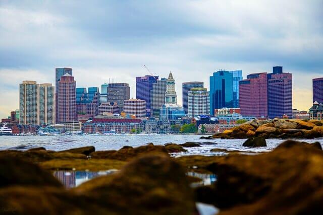 Massachusetts cannabis tourism guide city skyline of Boston